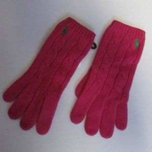 Ralph Lauren Pink Cable Knit Gloves